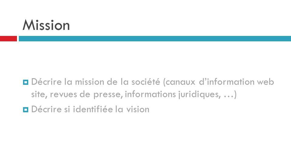 Mission Décrire la mission de la société (canaux d'information web site, revues de presse, informations juridiques, …)