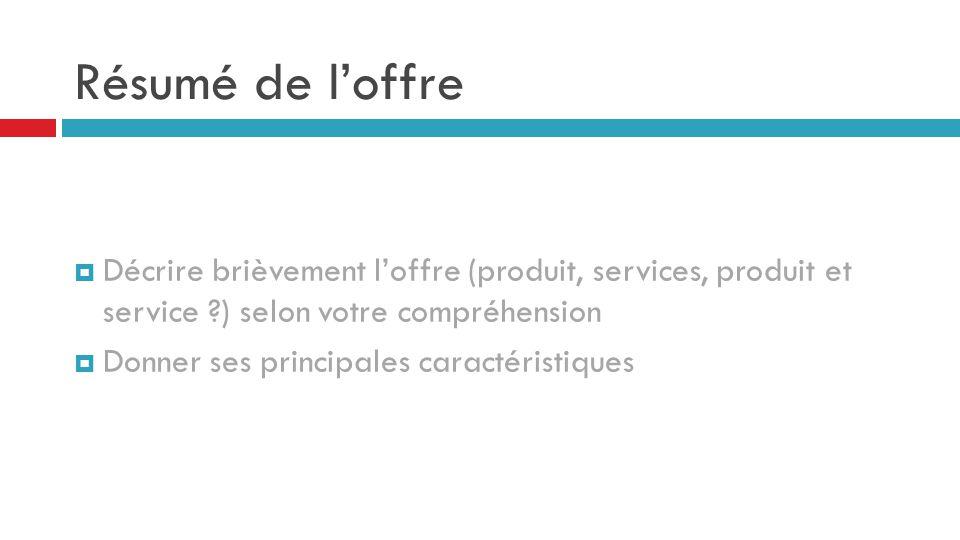 Résumé de l'offre Décrire brièvement l'offre (produit, services, produit et service ) selon votre compréhension.