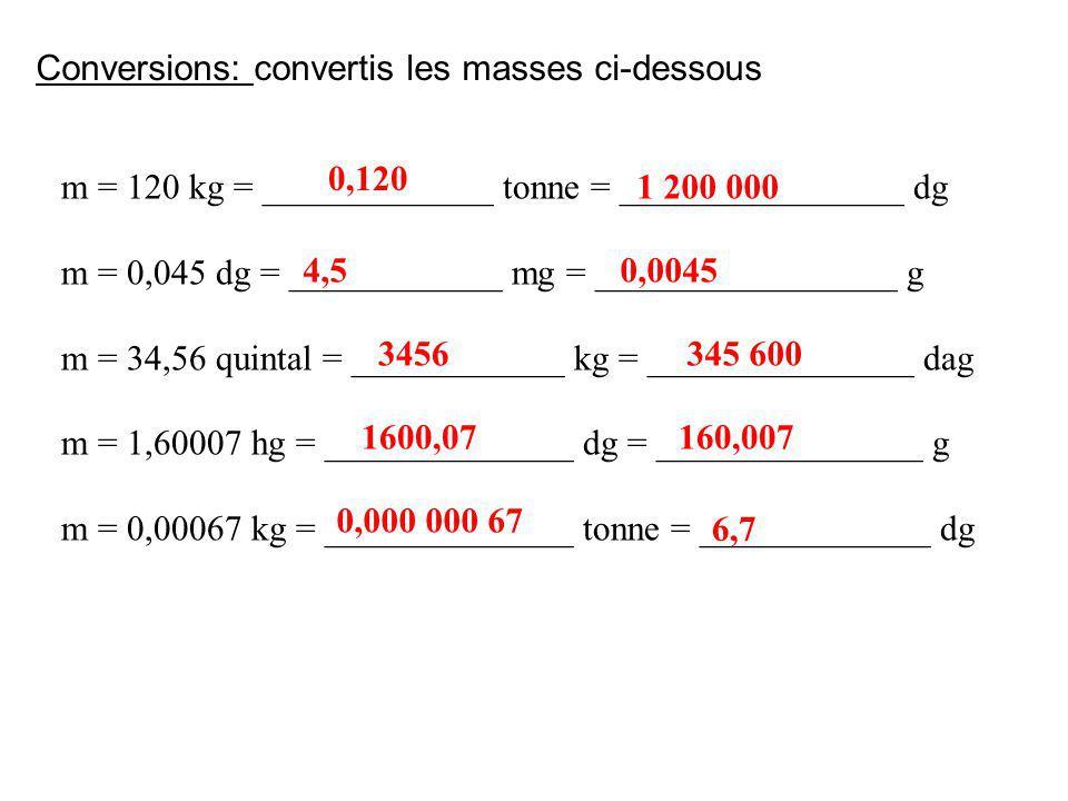Conversions: convertis les masses ci-dessous