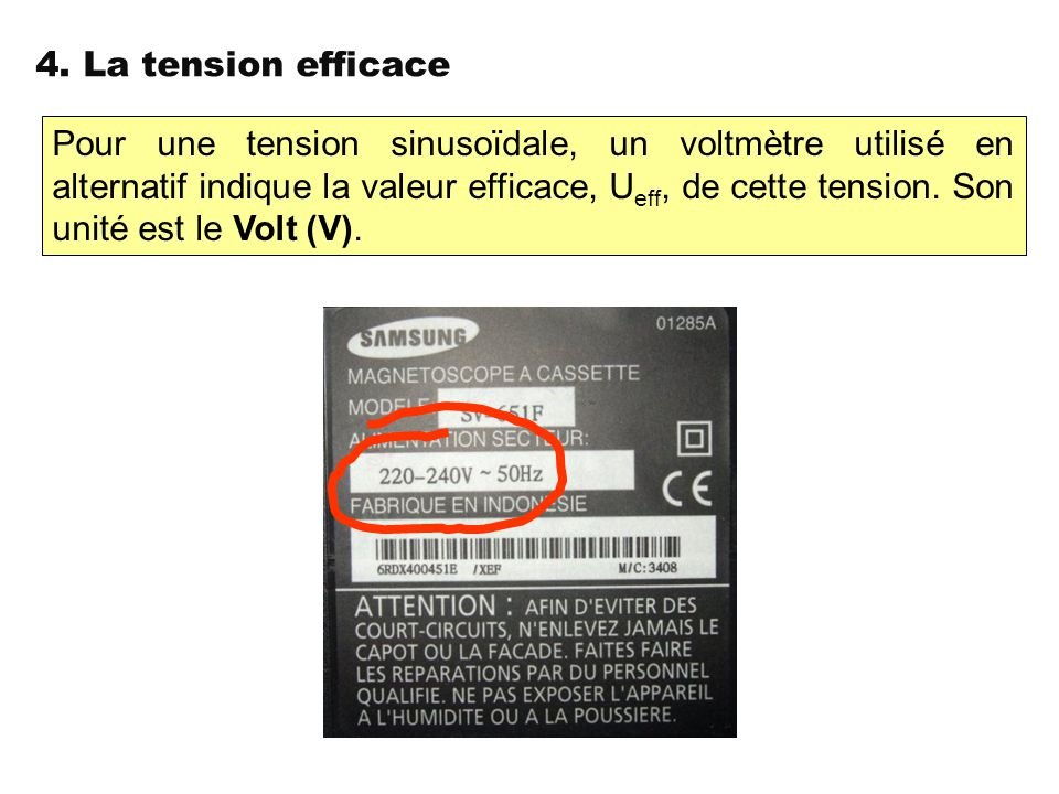 4. La tension efficace