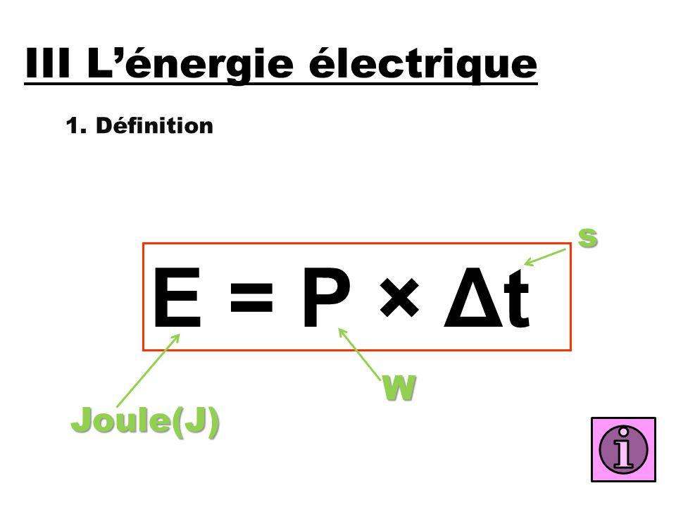 III L'énergie électrique