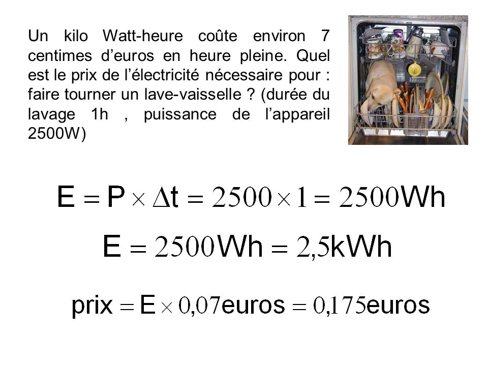 Un kilo Watt-heure coûte environ 7 centimes d'euros en heure pleine
