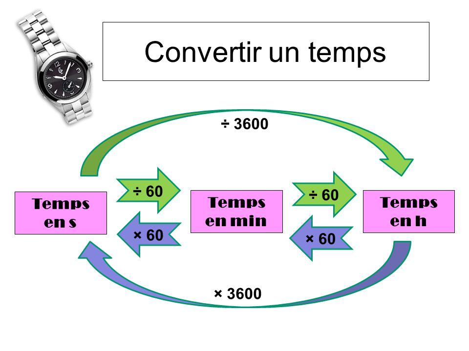 Convertir un temps ÷ 3600 × 3600 ÷ 60 Temps en s en min en h × 60