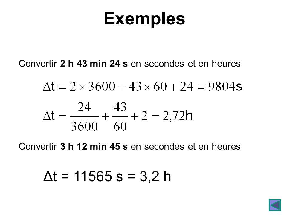 Exemples Convertir 2 h 43 min 24 s en secondes et en heures. Convertir 3 h 12 min 45 s en secondes et en heures.