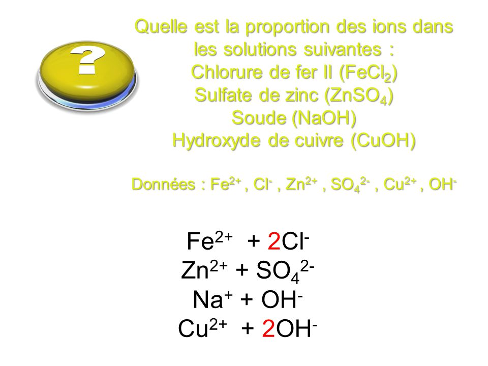 question Fe2+ + 2Cl- Zn2+ + SO42- Na+ + OH- Cu2+ + 2OH-