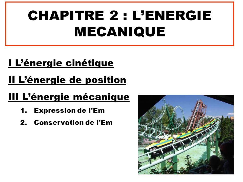 CHAPITRE 2 : L'ENERGIE MECANIQUE