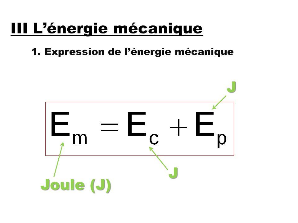III L'énergie mécanique