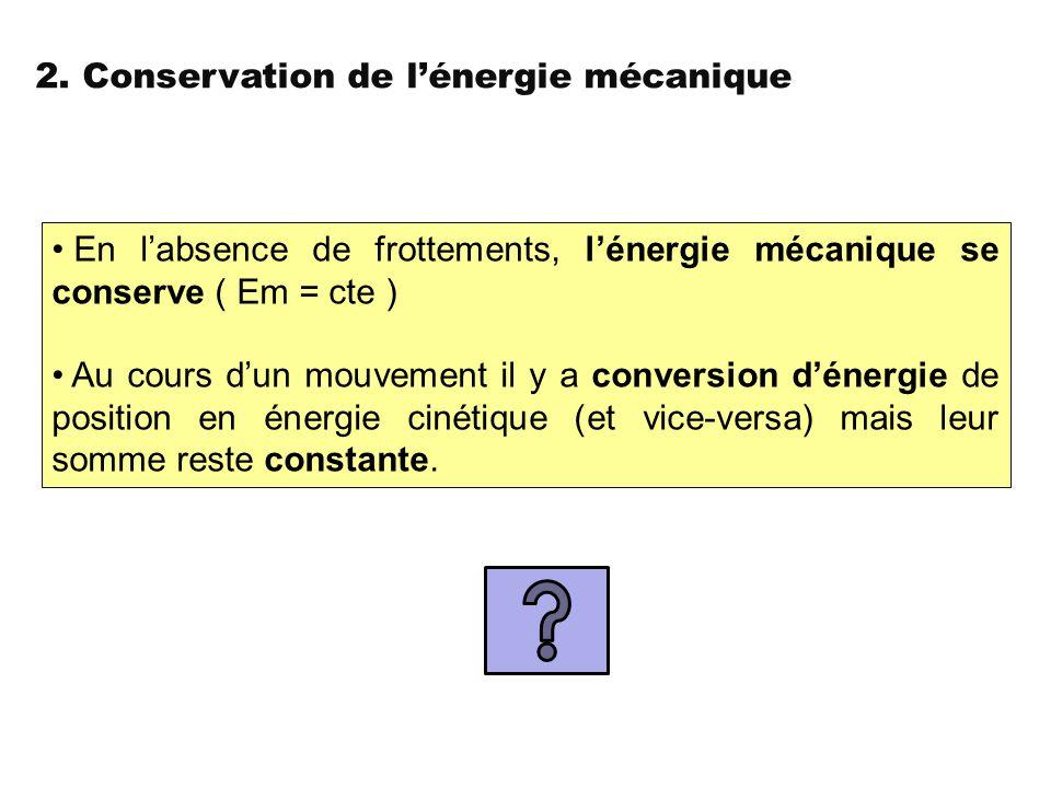 2. Conservation de l'énergie mécanique