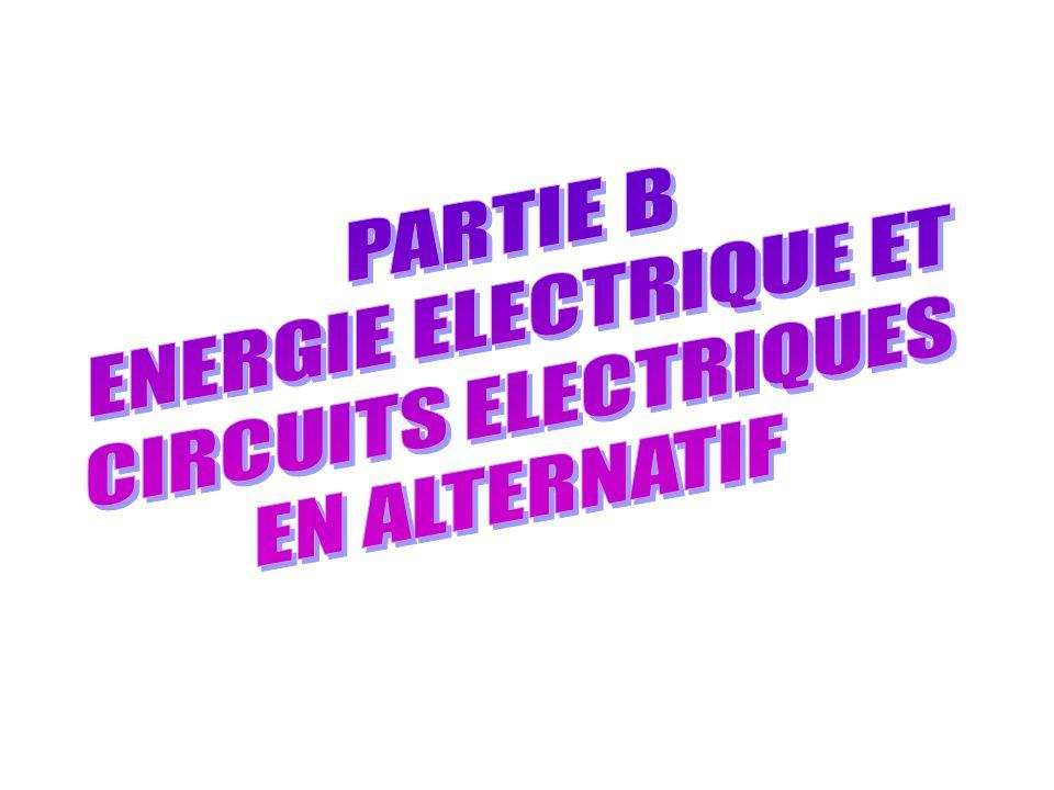 PARTIE B : ENERGIE ELECTRIQUE ET CIRCUITS ELECTRIQUE EN ALTERNATIF