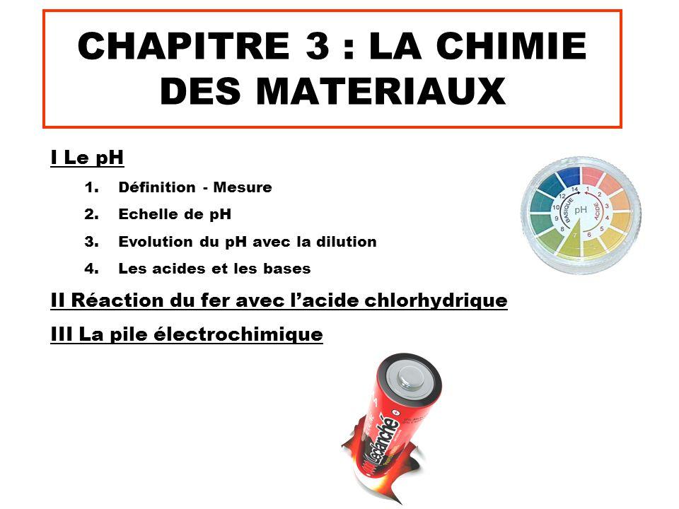 CHAPITRE 3 : LA CHIMIE DES MATERIAUX