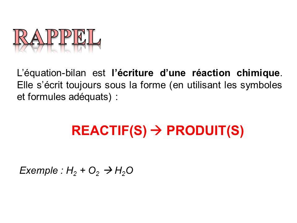 REACTIF(S)  PRODUIT(S)