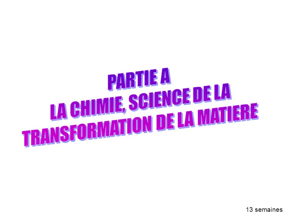 PARTIE A : LA CHIMIE, SCIENCE DE LA TRANSFORMATION DE LA MATIERE