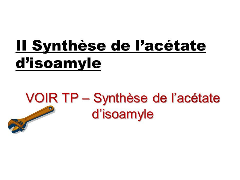 II Synthèse de l'acétate d'isoamyle