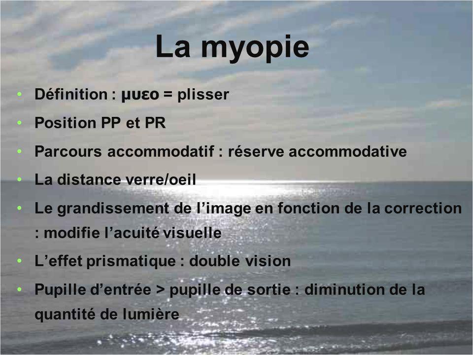 La myopie Définition : μυεο = plisser Position PP et PR