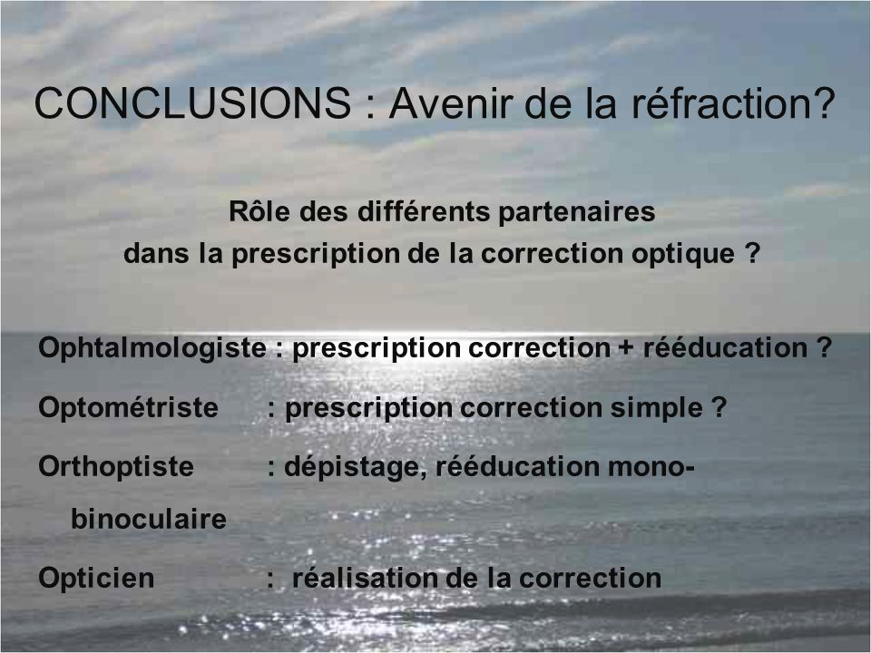 CONCLUSIONS : Avenir de la réfraction
