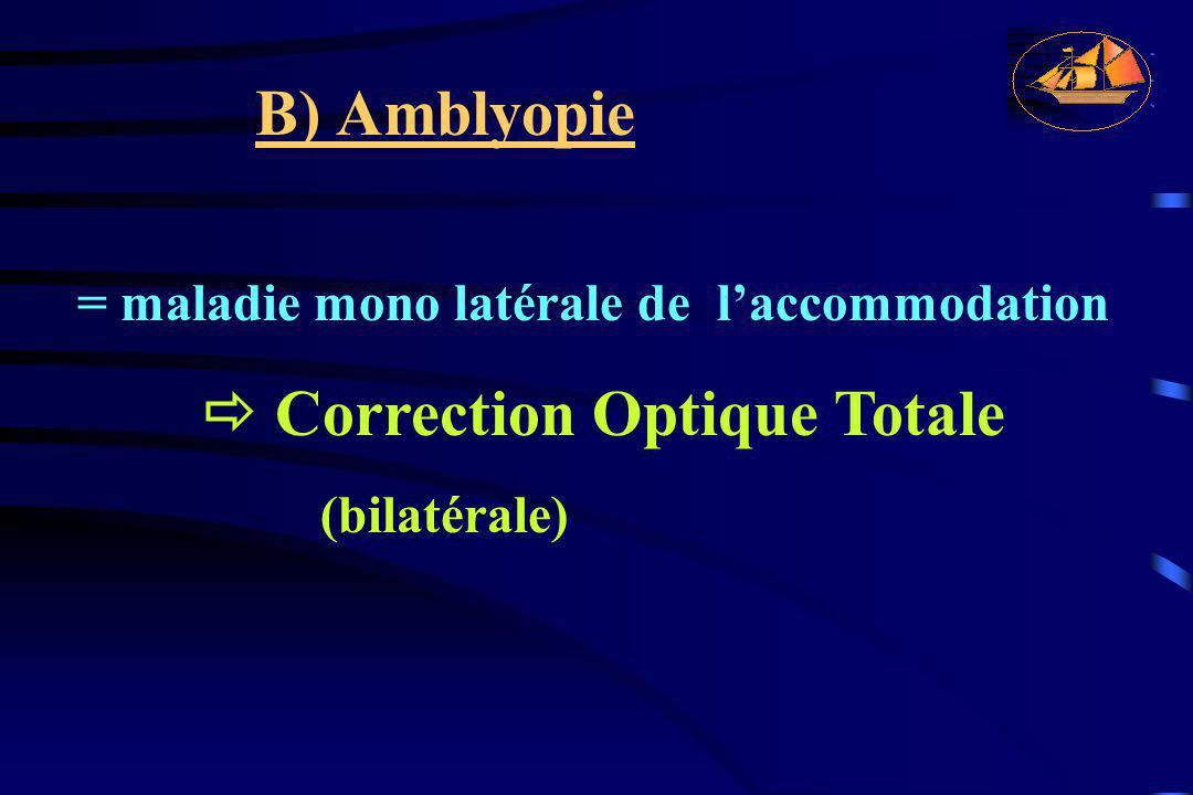 B) Amblyopie  Correction Optique Totale (bilatérale)