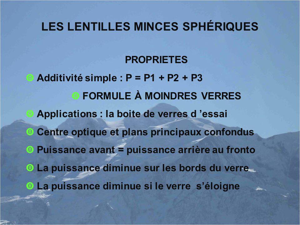 LES LENTILLES MINCES SPHÉRIQUES