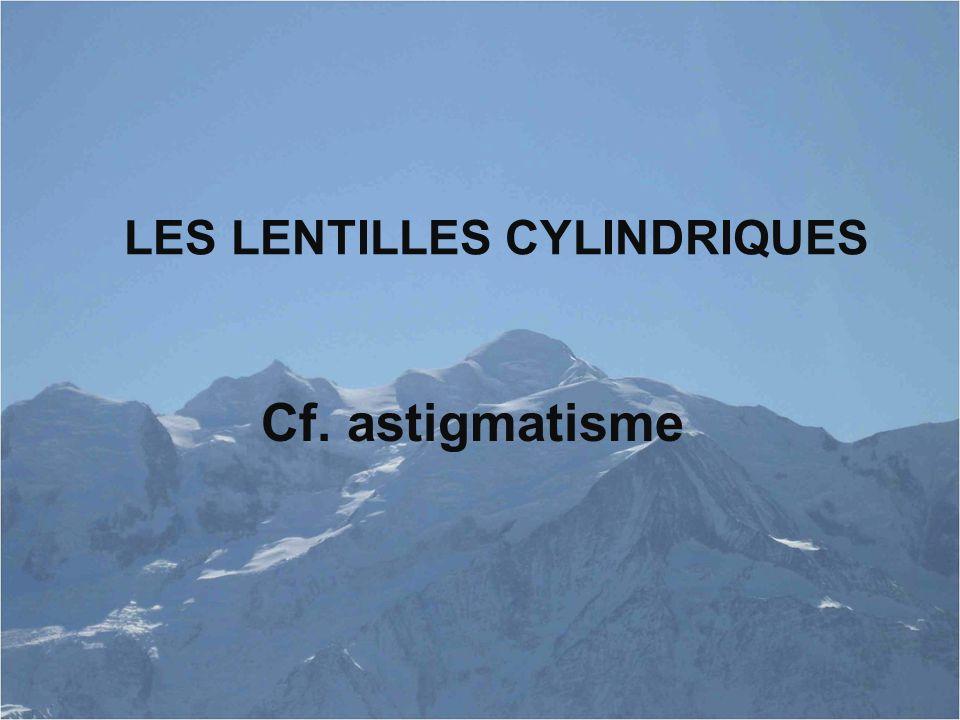 LES LENTILLES CYLINDRIQUES