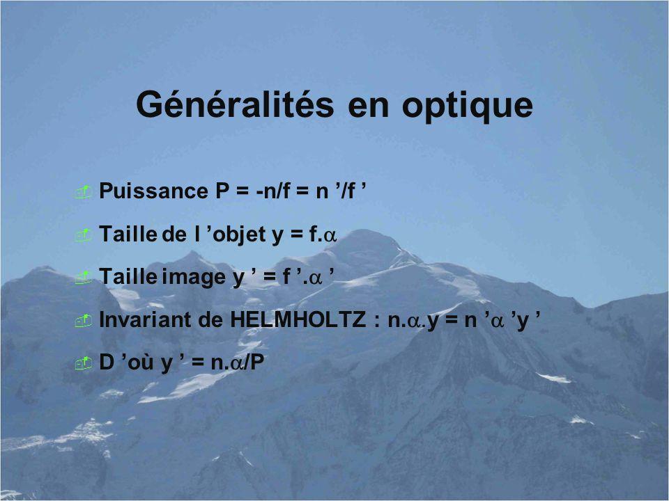 Généralités en optique