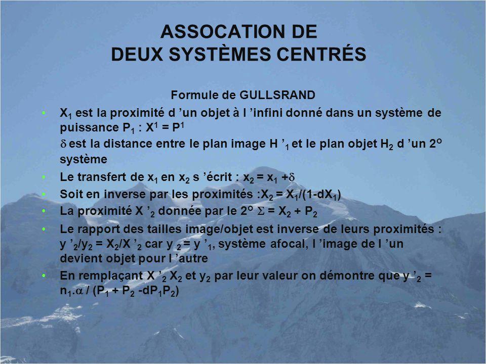 ASSOCATION DE DEUX SYSTÈMES CENTRÉS