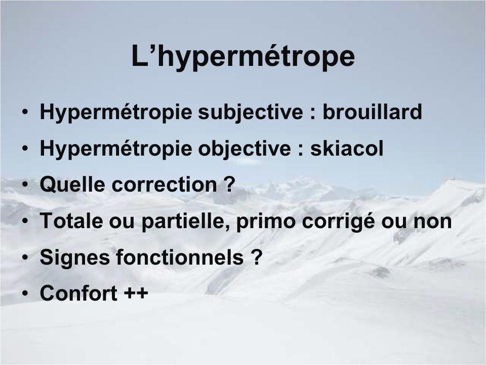 L'hypermétrope Hypermétropie subjective : brouillard