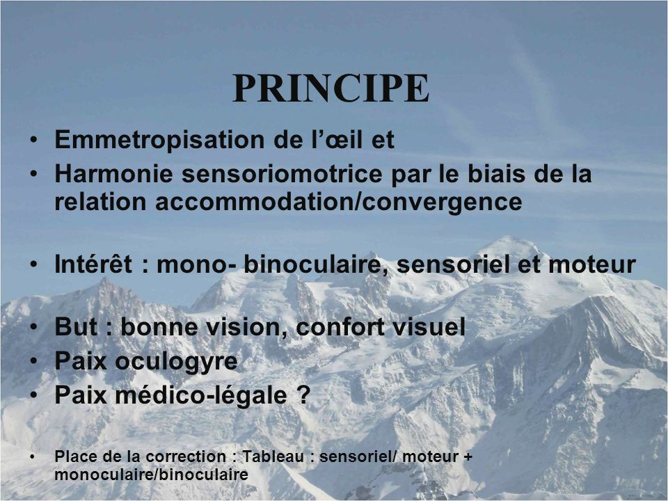 PRINCIPE Emmetropisation de l'œil et