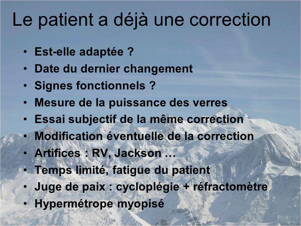 Le patient a déjà une correction