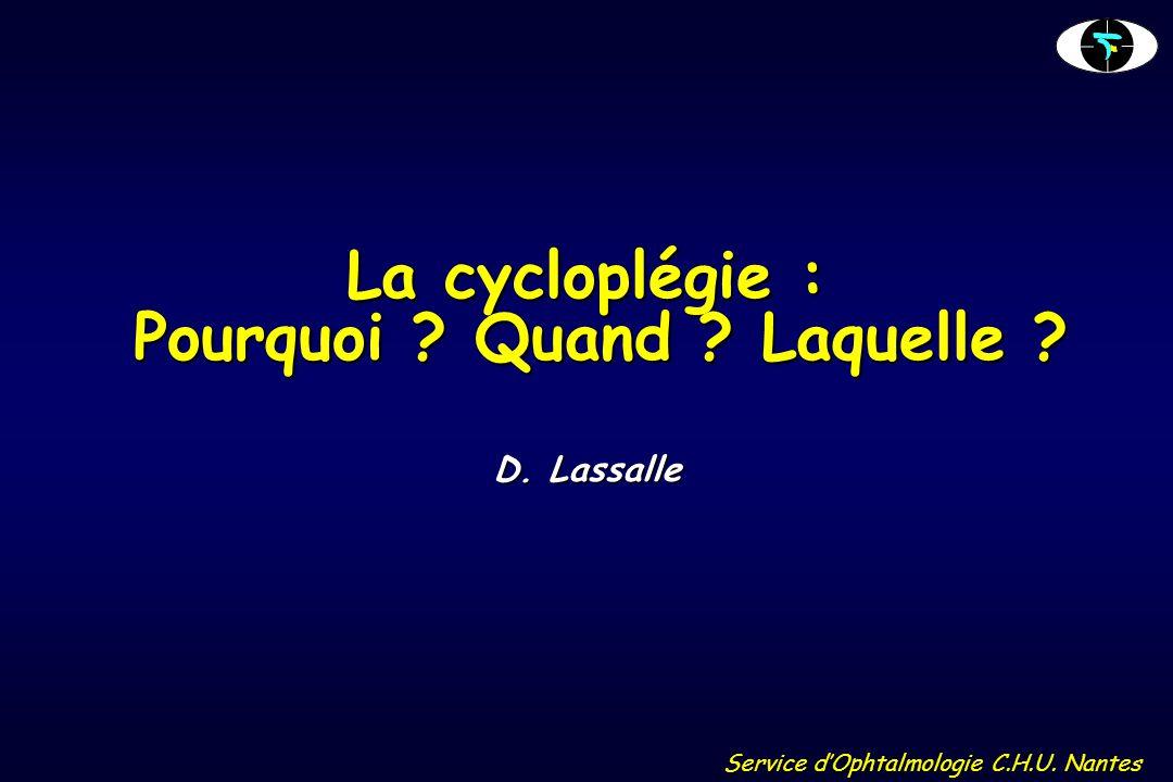 La cycloplégie : Pourquoi Quand Laquelle
