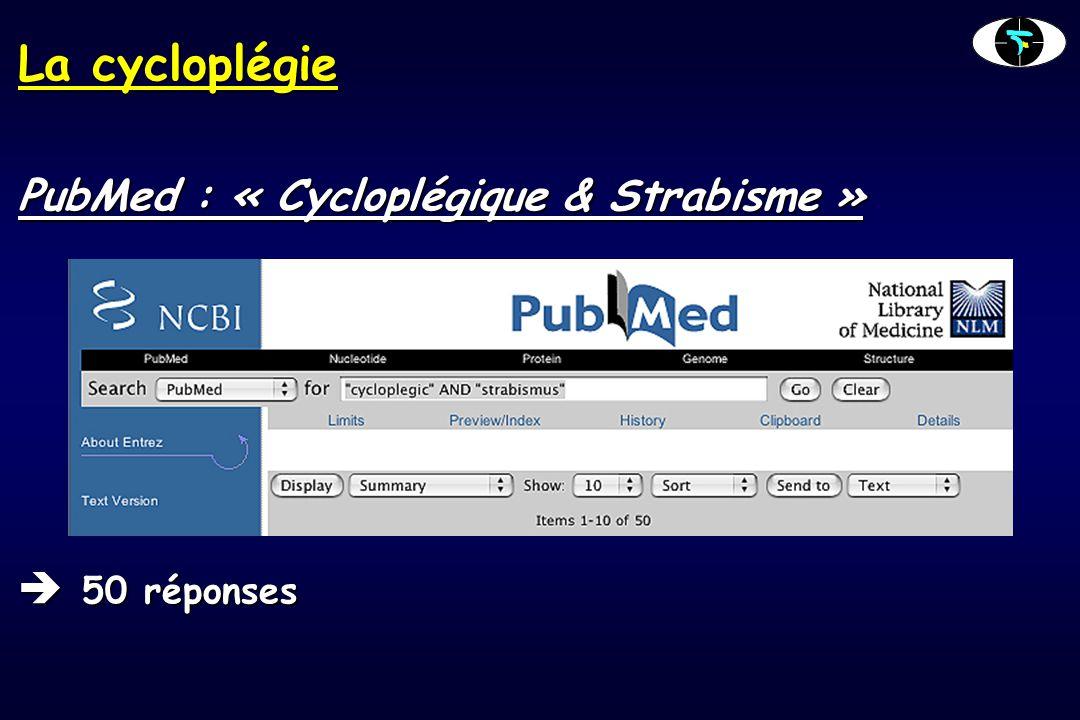 La cycloplégie PubMed : « Cycloplégique & Strabisme »  50 réponses