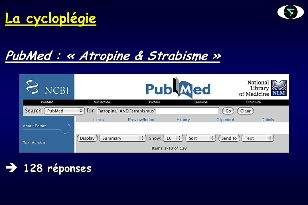 La cycloplégie PubMed : « Atropine & Strabisme »  128 réponses