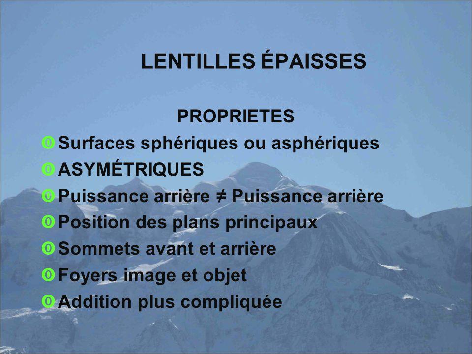 LENTILLES ÉPAISSES PROPRIETES Surfaces sphériques ou asphériques