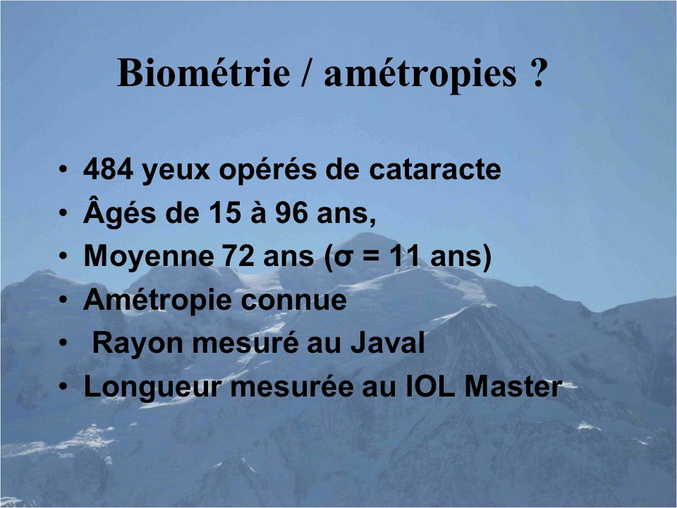 Biométrie / amétropies