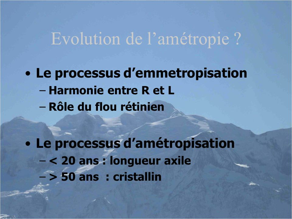Evolution de l'amétropie
