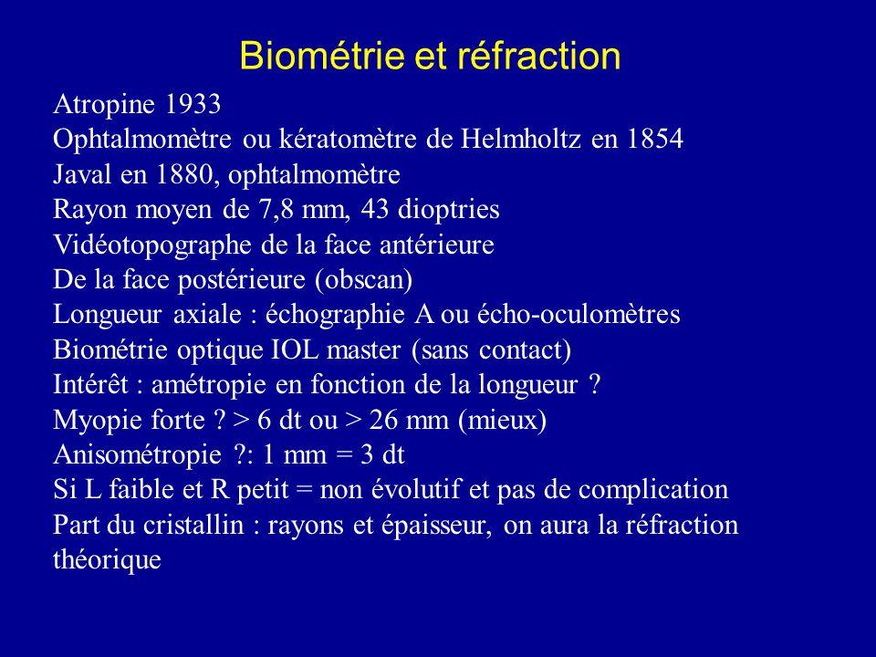 Biométrie et réfraction