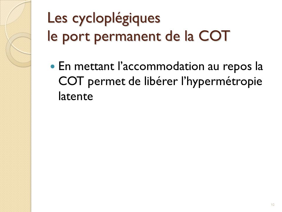 Les cycloplégiques le port permanent de la COT