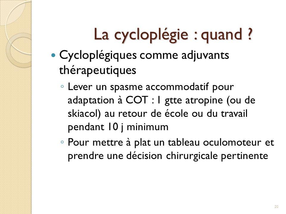 La cycloplégie : quand Cycloplégiques comme adjuvants thérapeutiques