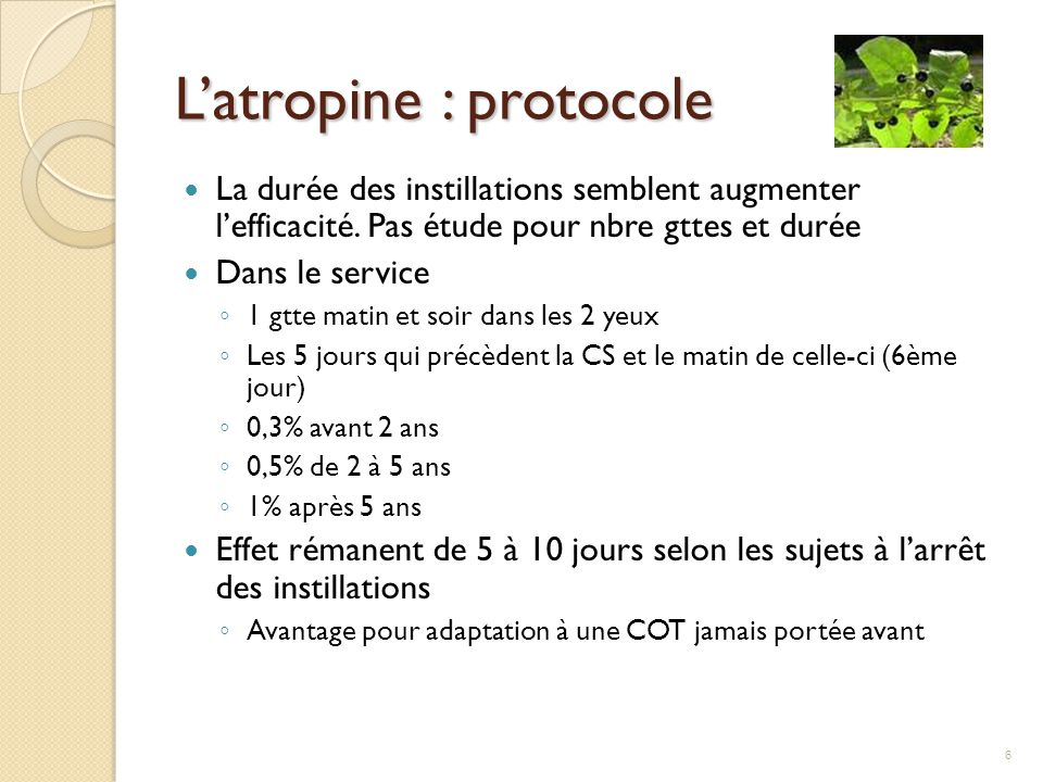 L'atropine : protocole