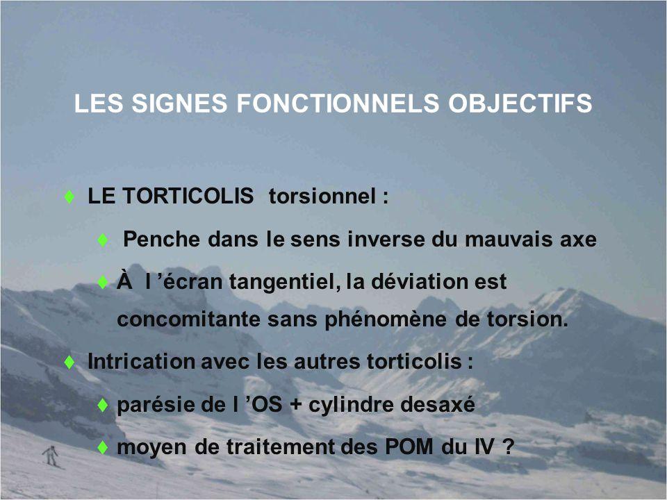 LES SIGNES FONCTIONNELS OBJECTIFS