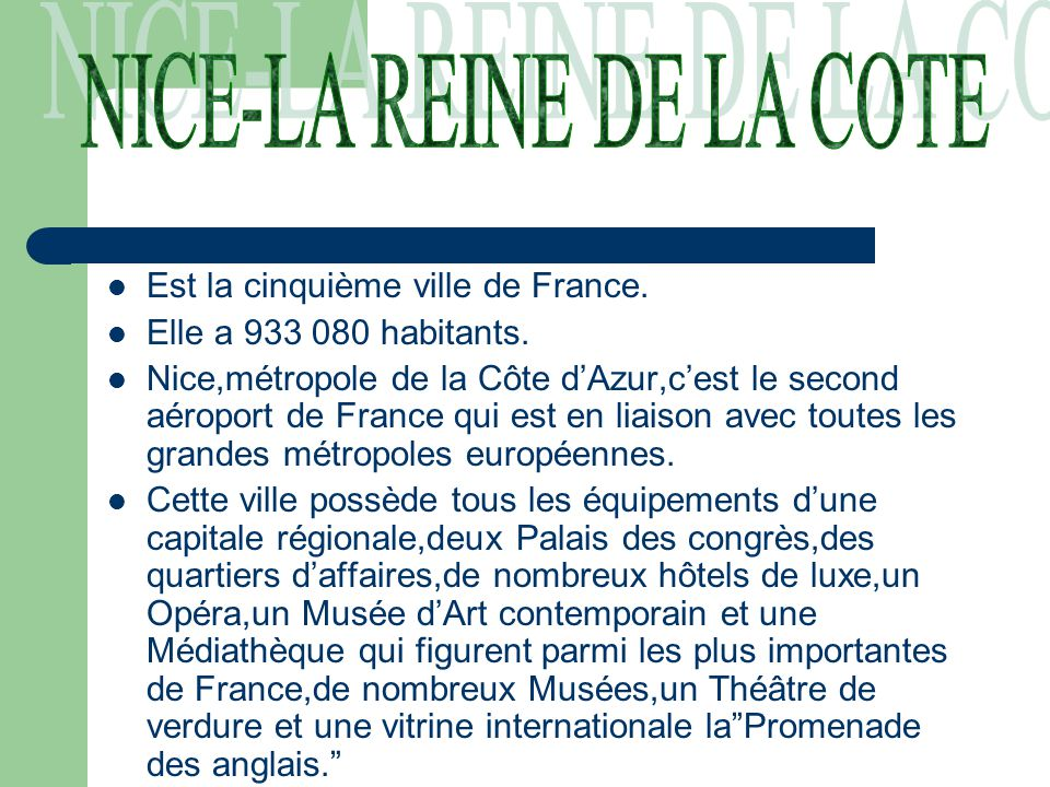NICE-LA REINE DE LA COTE