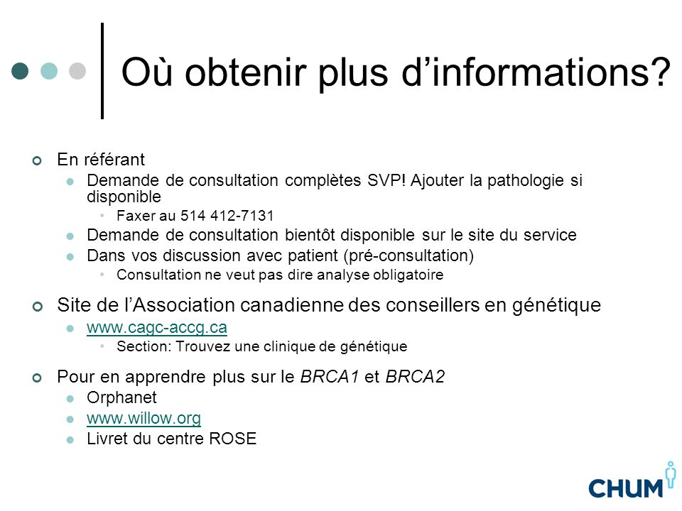 Où obtenir plus d'informations