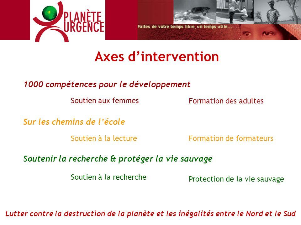Axes d'intervention 1000 compétences pour le développement