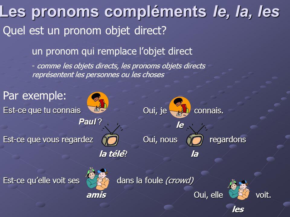 Les pronoms compléments le, la, les