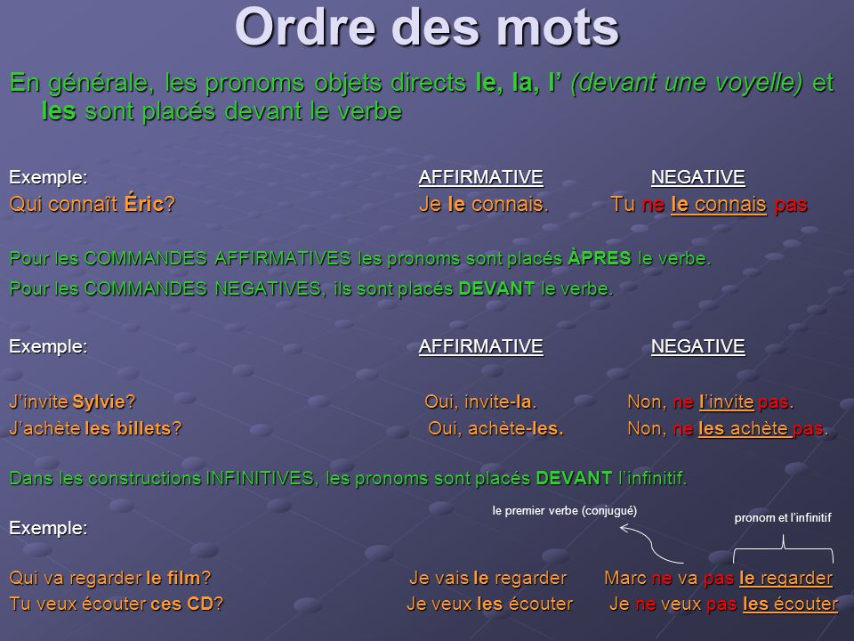 Ordre des mots En générale, les pronoms objets directs le, la, l' (devant une voyelle) et les sont placés devant le verbe.