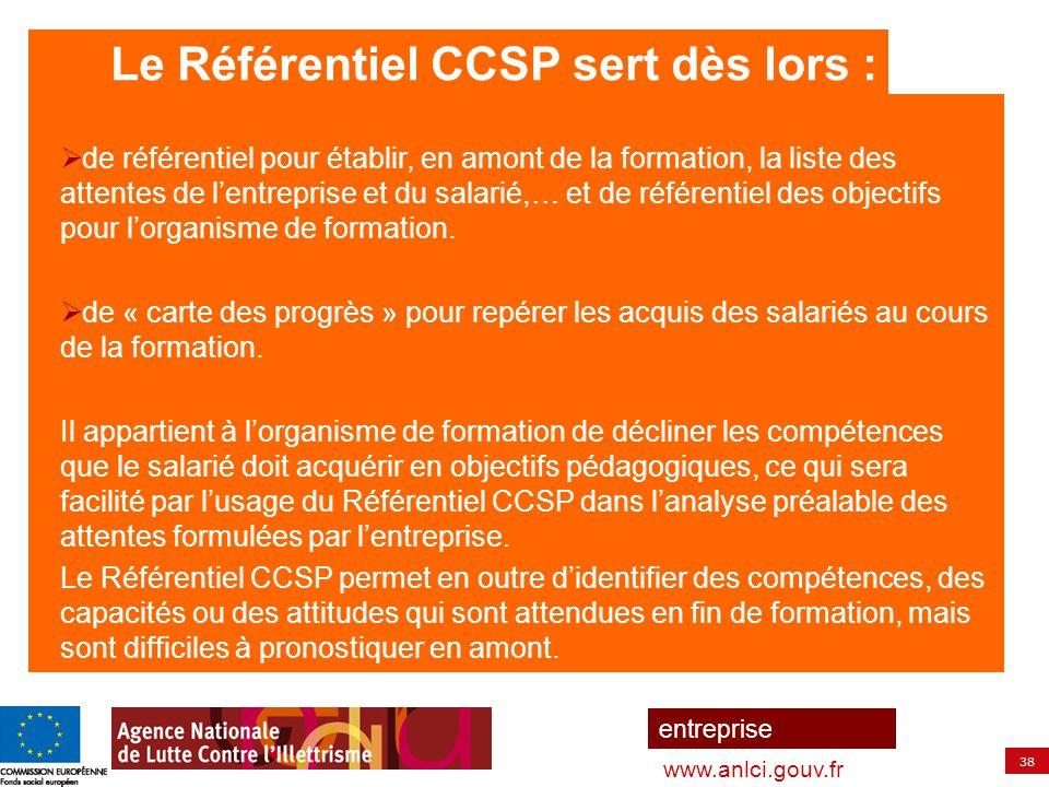 Le Référentiel CCSP sert dès lors :