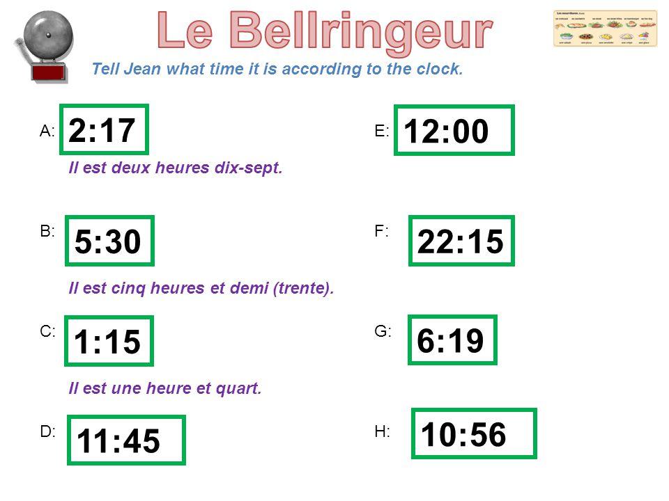 Le Bellringeur 2:17 12:00 5:30 22:15 1:15 6:19 10:56 11:45