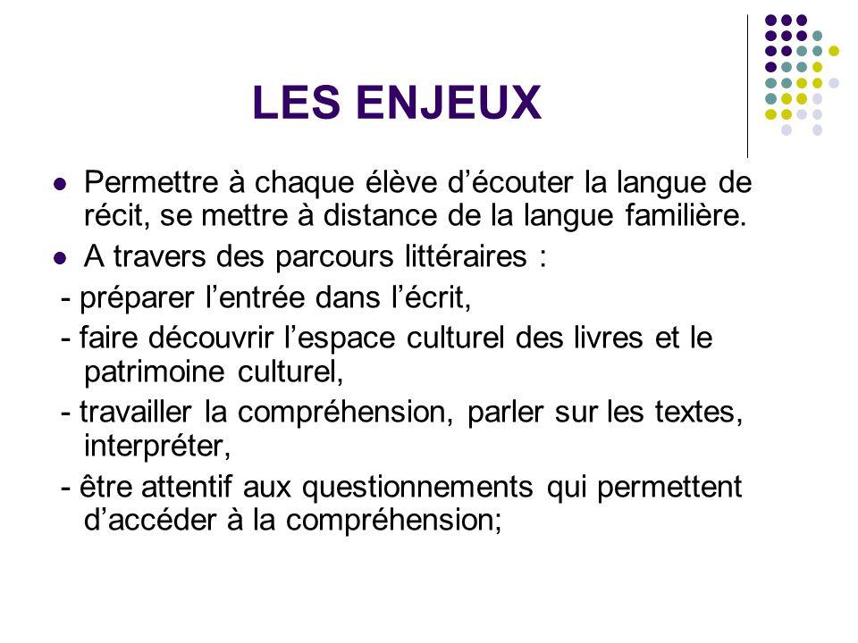 LES ENJEUX Permettre à chaque élève d'écouter la langue de récit, se mettre à distance de la langue familière.