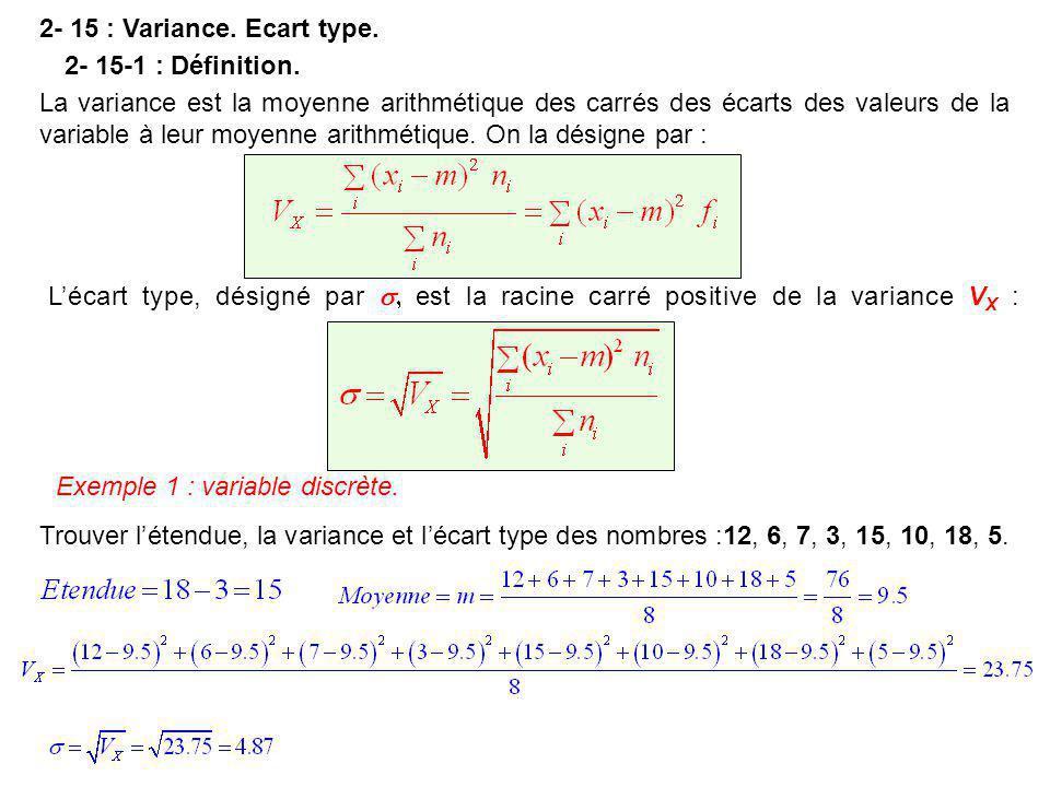 2- 15 : Variance. Ecart type. 2- 15-1 : Définition. La variance est la moyenne arithmétique des carrés des écarts des valeurs de la.