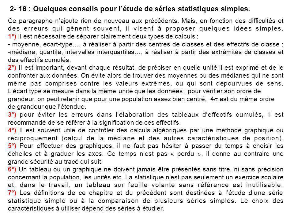 2- 16 : Quelques conseils pour l'étude de séries statistiques simples.