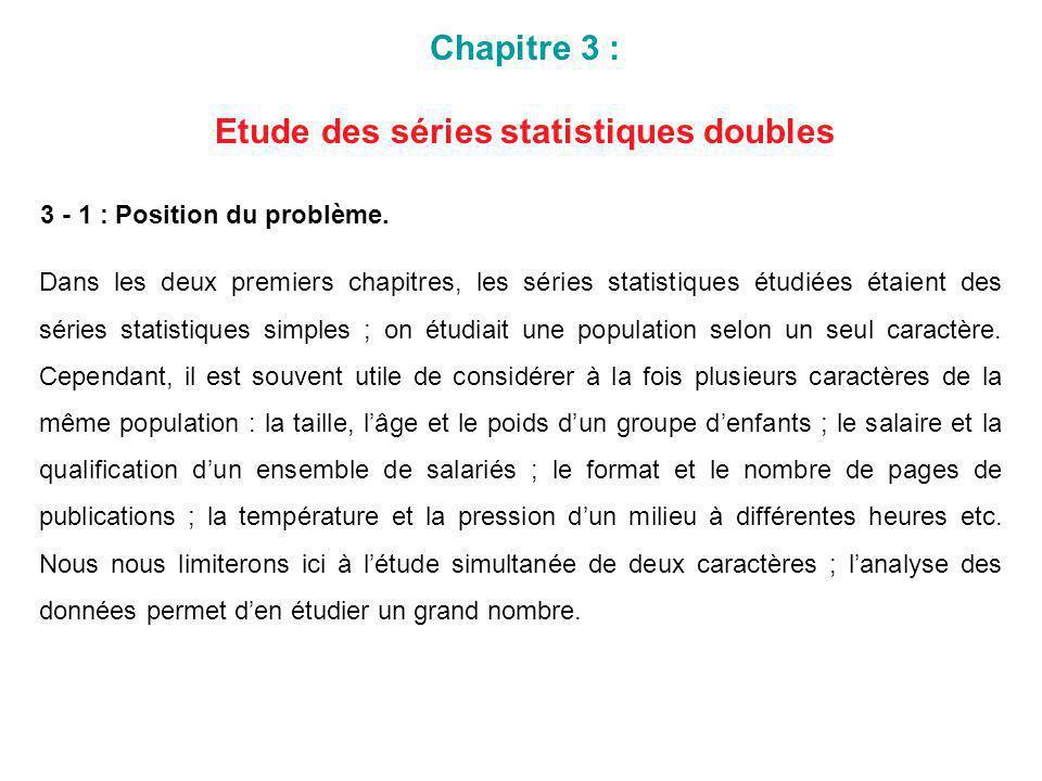 Etude des séries statistiques doubles