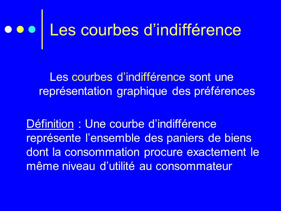Les courbes d'indifférence